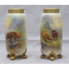 Pair of Harry Stinton Painted Cattle Vases by Royal Worcester 1937