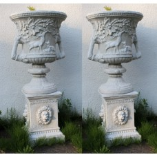 Pair of Heavy Composite Stone Classical Style Garden Urns