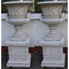 Pair of Heavy Composite Stone Garden Urns on Pedestals