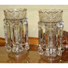 Pair of Heavy Georgian Cut Glass Lustres