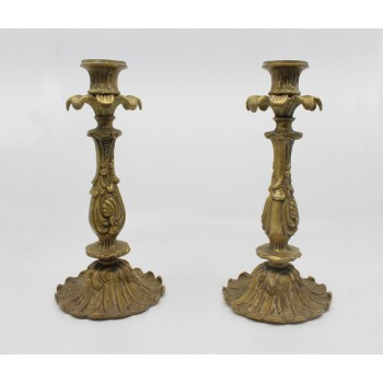 Pair of Heavy Vintage Decorative Brass Candlesticks