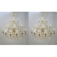 Pair of Large Gold Plated Crystal 28 Light Chandeliers