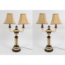 Pair of Large Decorative Twin Shade Table Lamps