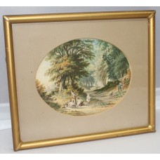 Pair of Victorian Oval LeBlond Prints Set in Gilt Frames