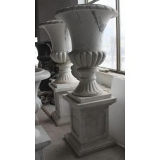 Pair of Large 6 ft Classical Style Heavy Marble Urns on Pedestal Stands