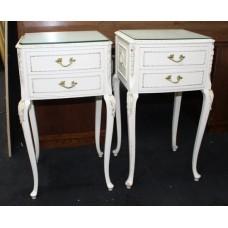 Pair of Olympus Painted White Marie Antoinette Style Bedside Nightstands