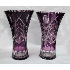 Pair of Amethyst Cut Glass Overlay Crystal Vases