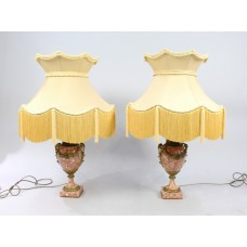 Pair of Antique French Marble & Ormolu Table Lamps with Silk Shades