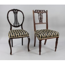 Pair of Antique Mahogany Upholstered Occasional Chairs
