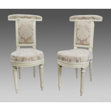 Pair of Early Antique French Painted Voyeuse Chairs