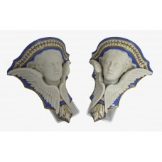 Pair of 19th c. Grainger & Co Porcelain Putti Wall Brackets