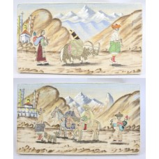 Pair of Indian Gangtok Silk Road Embroideries