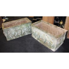 Pair of Old Reconstituted Cherubic Garden Planter Troughs