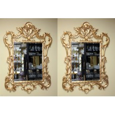 Pair of Ornate Carved Wood Gilt Bevelled Mirrors