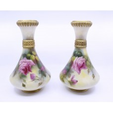Pair of Royal Worcester Floral Blush 2187 Vases 1917