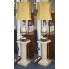 Pair of Venetian Style Brass Mounted Jewelled Glass Table Lamps on Pedestals