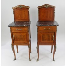 Pair of Victorian Marble Topped  Inlaid Mahogany Cabinets