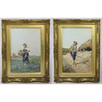 Pair of Watercolours by Filippo Indoni (Italian, 1842–1908)