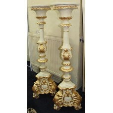 Pair of Ornate Cream & Gilt Decorative Pedestals
