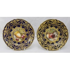 Pair of Royal Worcester Cabinet Plates by Richard Sebright 1918