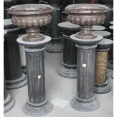 Pair of Rouge Purple Marble Urns on Black Marble Pedestals H 41 in
