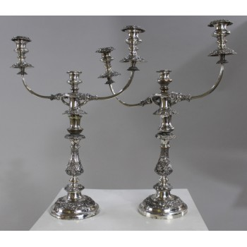 Pair of English Sheffield Plate Candelabras c.1800
