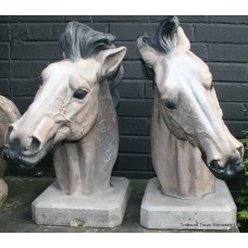 Pair of Painted Composite Stone Horse Bust Sculptures Gateposts