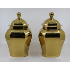 Pair of Solid Brass Lidded Urns