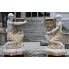 Pair of Large Carved Marble Water Carrier Figures