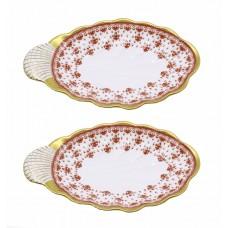 Pair of Spode Fleur de Lys Shell Form Dishes