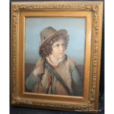 Pair of Late 19th c. Oiliograph Portraits Set in Gilt Frames