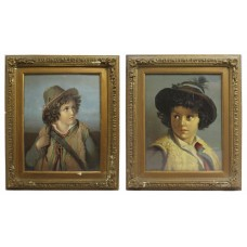 Pair of Victorian Oleograph Portraits Set in Gilt Frames