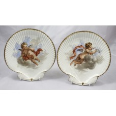 Pair of Victorian Wedgwood Oyster Shaped Hand Painted Cherub Plates