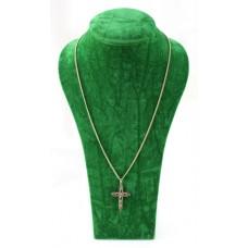 Peridot Ruby & Sapphire Gold Cross on Chain