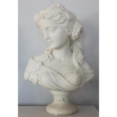 Period Style Carved White Marble Bust of Maiden