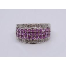 Pink Sapphire & Diamond 18ct White Gold Band Ring