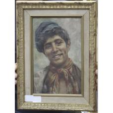 Italian School Portrait of a Neapolitan Youth Oil on Canvas