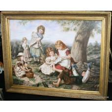 Pre-Raphaelite Style Genre Painting Set in Gilt Frame