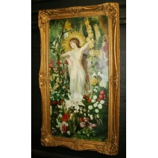 Pre Raphaelite Style Nude Painting Set in Gilt Frame