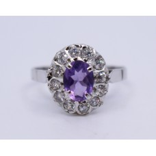 Silver Ring with Oval Amethyst Style Stone