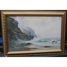 'The Ravens Heugh' Coastal Watercolour by Arthur Dean 1923