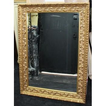 Rectangular Gilt Gold Leaf Bevelled Mirror 80.5 x 111 cm