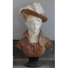 Red & White Marble Bust of Woman with Hat on Black Marble Base