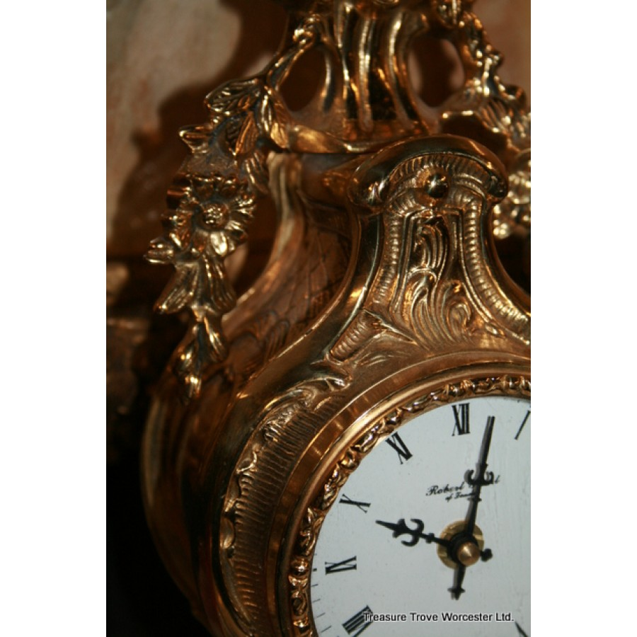 Rococo Style Robert Grant Brass Mantle Clock