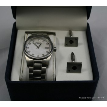 Rotary Stainless Steel Wristwatch & Cufflinks