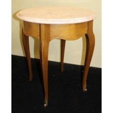 Circular Pink Marble Topped Satinwood Table