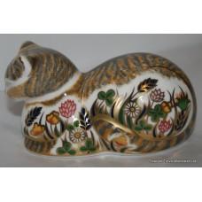 """Royal Crown Derby """"Cottage Garden Cat"""" Paperweight"""