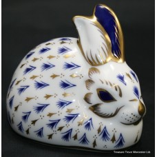 Royal Crown Derby Blue & Gold Rabbit Paperweight