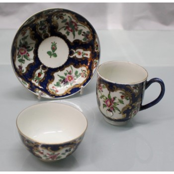 Royal Worcester 18th c. Blue Scale Trio with Floral Panels