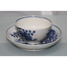 Royal Worcester Dr Wall First Period Blue & White Fence Pattern Cup & Saucer